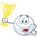 6491 Royalty Free Clip Art Happy Golf Ball Holding First Prize Trophy Cup