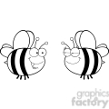 6552 royalty free clip art black and white cute bee looking female bee  gif, png, jpg, eps, svg, pdf