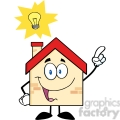 6474 Royalty Free Clip Art House Cartoon Character With Good Idea
