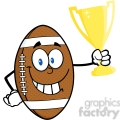 6584 royalty free clip art american football ball cartoon mascot character holding golden trophy cup  gif, png, jpg, eps, svg, pdf