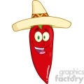 6775 Royalty Free Clip Art Smiling Red Chili Pepper Cartoon Mascot Character With Mexican Hat