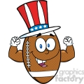6578 Royalty Free Clip Art American Football Ball Cartoon Mascot Character With American Patriotic Hat Showing Muscle Arms