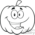 6641 Royalty Free Clip Art Back And White Happy Halloween Pumpkin Cartoon Mascot Illustration