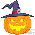 6609 Royalty Free Clip Art Halloween Pumpkin With A Witch Hat Cartoon Illustration