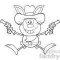 royalty free rf clipart illustration black and white cowboy rabbit cartoon character holding up two revolvers gif, png, jpg, eps, svg, pdf