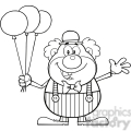 Royalty Free RF Clipart Illustration Black and White Funny Clown Cartoon Character With Balloons And Waving