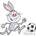 royalty free rf clipart illustration cute gray rabbit cartoon character playing with soccer ball  gif, png, jpg, eps, svg, pdf