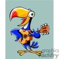 cartoon parrot playing a guitar