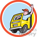 delivery truck driver wave in circle shape  gif, png, jpg, eps, svg, pdf