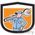 plumber carrying big wrench in shield shape