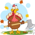 6892_Royalty_Free_Clip_Art_Turkey_With_Axe_Cartoon_Mascot_Character