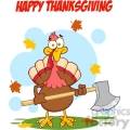 6893_Royalty_Free_Clip_Art_Happy_Thanksgiving_Greeting_With_Turkey_With_Axe