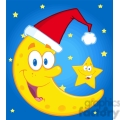 6976 royalty free rf clipart illustration smiling crescent moon with santa hat and happy christmas star cartoon characters gif, png, jpg, eps, svg, pdf