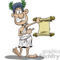 cartoon greek guy holding paper scroll