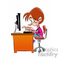 vector kid working at the computer cartoon