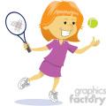 cartoon girl playing tennis clip art image