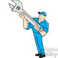 Mechanic presenting spanner