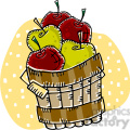 red and green apples in a barell vector clip art image