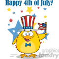 royalty free rf clipart illustration patriotic yellow chick cartoon character waving an american flag on independence day vector illustration isolated on white with text gif, png, jpg, eps, svg, pdf