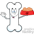 royalty free rf clipart illustration happy bone cartoon mascot character holding a dog food in red bowl dish gif, png, jpg, eps, svg, pdf