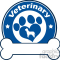 illustration veterinary blue circle label design with love paw dog and bone under text  gif, png, jpg, eps, svg, pdf