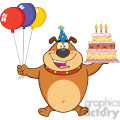 royalty free rf clipart illustration birthday brown bulldog cartoon mascot character holding up a birthday cake with candles gif, png, jpg, eps, svg, pdf