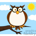 royalty free rf clipart illustration wise owl on tree cartoon character  gif, png, jpg, eps, svg, pdf