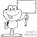 royalty free rf clipart illustration black and white cute frog cartoon mascot character holding up a wood sign