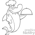 royalty free rf clipart illustration black and white chef shark cartoon character holding a platter  gif, png, jpg, eps, svg, pdf