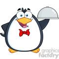 royalty free rf clipart illustration waiter penguin serving food on a platter  gif, png, jpg, eps, svg, pdf