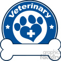 Illustration Veterinary Blue Circle Label Design With Love Paw Print,Cross And Bone Under Text
