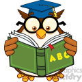 royalty free rf clipart illustration wise owl teacher cartoon mascot character reading a abc book  gif, png, jpg, eps, svg, pdf