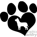 royalty free rf clipart illustration black love paw print with dog silhouette  gif, png, jpg, eps, svg, pdf