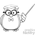 royalty free rf clipart illustration black and white wise owl teacher cartoon mascot character with a pointer gif, png, jpg, eps, svg, pdf