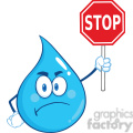 Royalty Free RF Clipart Illustration Angry Water Drop Cartoon Mascot Character Holding up A Forbidden Sign