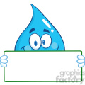 Water Drop Character Holding A Banner