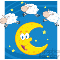 Royalty Free RF Clipart Illustration Three Funny Counting Sheep Over A Moon