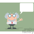royalty free rf clipart illustration funny scientist or professor waving with speech bubble flat design gif, png, jpg, eps, svg, pdf