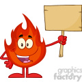 Royalty Free RF Clipart Illustration Fire Cartoon Mascot Character Holding A Wooden Board