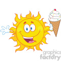Royalty Free RF Clipart Illustration Happy Sun Cartoon Mascot Character Holding A Ice Cream