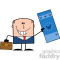 Royalty Free RF Clipart Illustration Lucky Businessman With Briefcase Holding A Euro Bill Cartoon Character