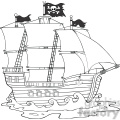 Royalty Free RF Clipart Illustration Pirate Ship Sailing Under Jolly Roger Flag