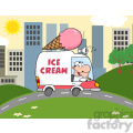 royalty free rf clipart illustration happy ice cream man driving truck in the town  gif, png, jpg, eps, svg, pdf
