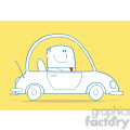 royalty free rf clipart illustration businessman driving car to work monochrome cartoon character on yellow background gif, png, jpg, eps, svg, pdf