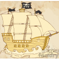 Royalty Free RF Clipart Illustration Pirate Ship Sailing Under Jolly Roger Flag In Old Paper