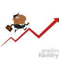 8371 Royalty Free RF Clipart Illustration African American Manager Running Up A Success Arrow Flat Style Vector Illustration