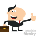 8257 Royalty Free RF Clipart Illustration Happy Manager Giving Thumb Up In Modern Flat Design Vector Illustration
