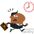 8273 Royalty Free RF Clipart Illustration Hurried African American Manager Running Past A Clock Modern Flat Design Vector Illustration