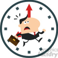 8275 Royalty Free RF Clipart Illustration Hurried Manager Running Past A Clock Modern Flat Design Vector Illustration