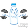 royalty free rf clipart illustration smiling milk bottle character training with dumbbells  gif, png, jpg, eps, svg, pdf